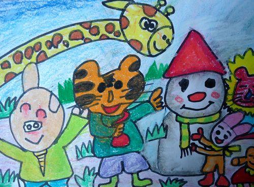 和雪人 儿童彩笔画图片