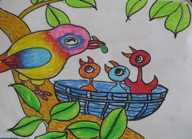 小鸟和鸟妈妈_儿童彩笔画图片
