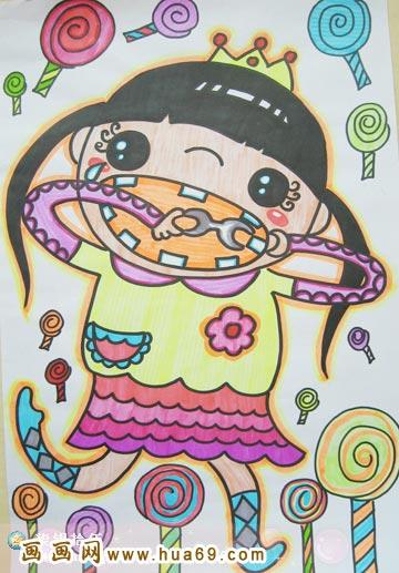 儿童彩笔画作品 棒棒糖女孩