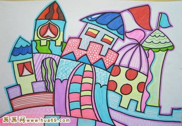 儿童彩笔画作品:彩色房子