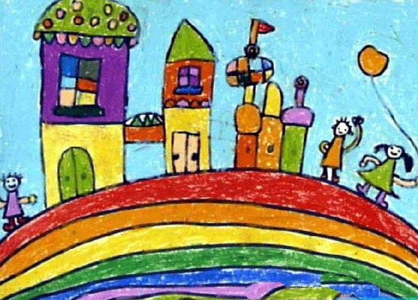 兒童油棒畫作品:彩虹上蓋房子