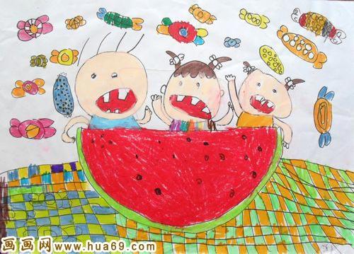 儿童彩笔画作品 吃西瓜的小孩子