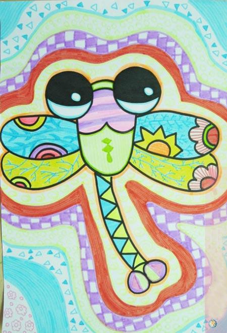 儿童彩笔画作品 大眼睛蜻蜓