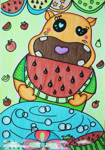 儿童彩笔画作品 大嘴熊