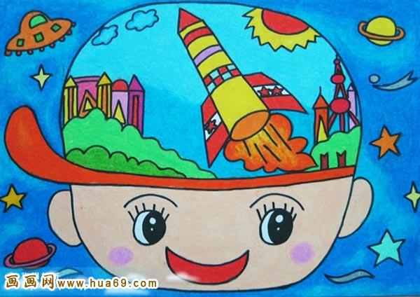 儿童彩笔画作品 可爱大头娃娃