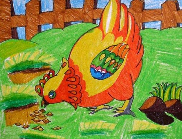 母鸡吃食 儿童蜡笔画作品