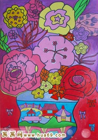 亮的花 儿童彩笔画作品