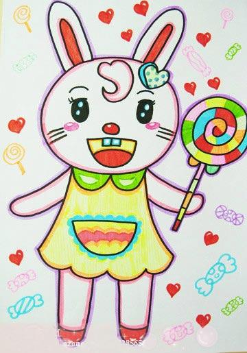 兔小姐吃棒棒糖 儿童彩笔画作品