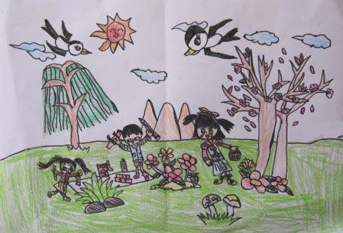 春天的燕子 儿童彩笔画作品