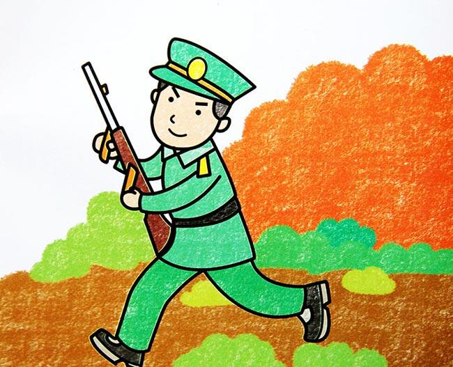 儿童蜡笔画:拿枪的解放军