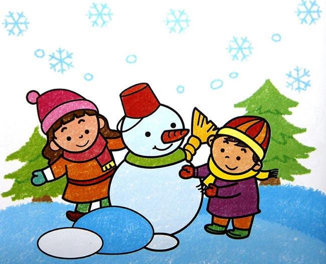 儿童蜡笔画:堆个雪人过 圣诞    绘画   圣诞节&新年 儿童 画画- 儿