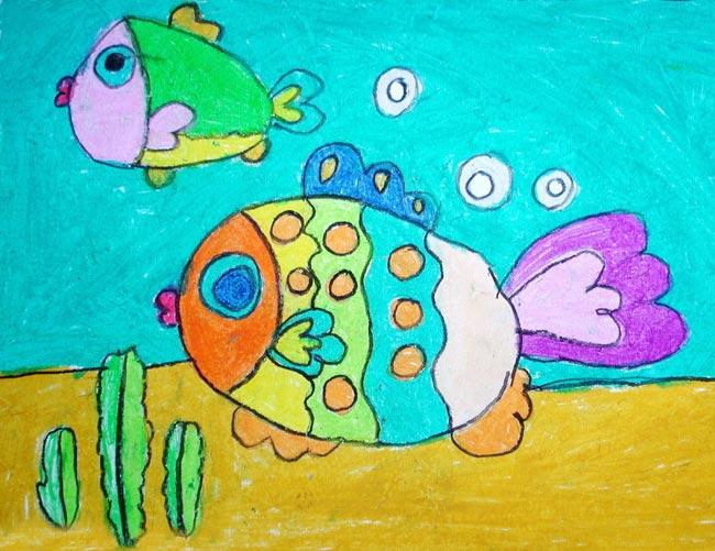 儿童蜡笔画 五彩小鱼