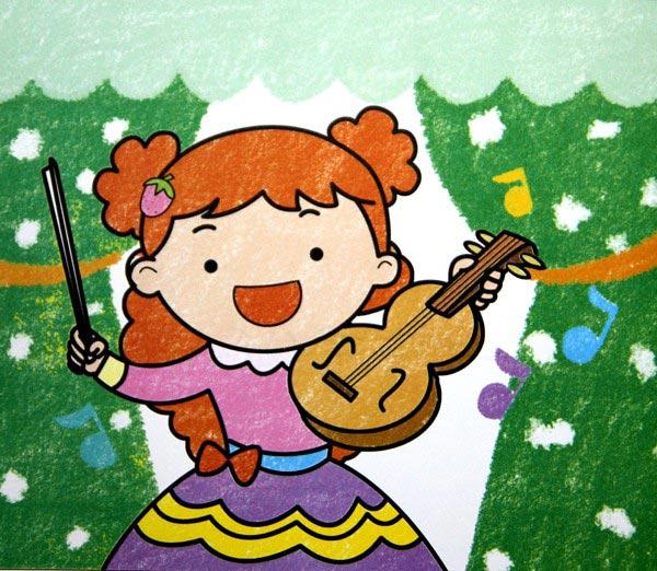 儿童蜡笔画 拉小提琴的女孩