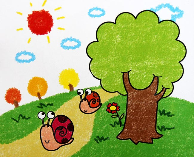 儿童蜡笔画 蜗牛赛跑
