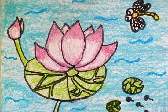 儿童蜡笔画:漂亮的荷花