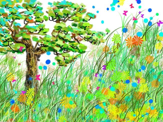 儿童蜡笔画 百草园的花和草