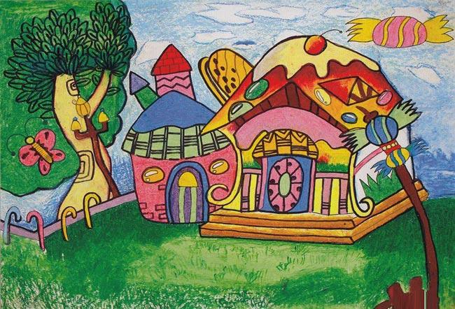 儿童蜡笔画 漂亮的别墅