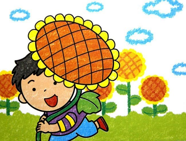 儿童蜡笔画 好大的向日葵