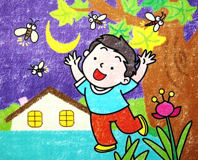 儿童蜡笔画 小孩戏蜻蜓