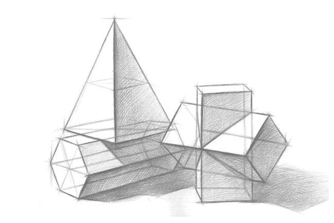 解析三个几何体组合结构素描