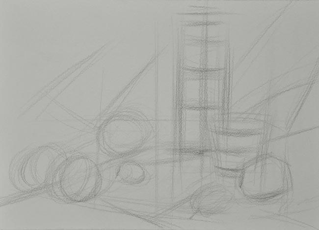 静物组合素描 :可乐 纸张:法国原装进口八开180g康颂纸 工具:铅笔、纸笔、纸巾、油画白、中性笔 时间:2.5个小时   步骤一:定位定形,用6B铅笔大体确定构图与物体的位置和比例关系,尽量轻松些,感觉到了即可。  步骤二:具体形状,把物体的形体画得具体些,暗面稍微上点明暗,注意不要死扣。  步骤三:铺大色调,用5B的铅笔大刀阔斧地铺色调,区别物体的色调和明暗关系,尽量放松。  步骤四:虚化调子,用纸笔或纸巾把浮在纸张上面的调子糅进去,注意物体的结构的地方,亮面少动。  步骤五:深入调子,进一步区别物体
