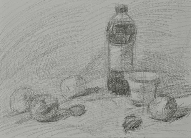 步骤三:铺大色调,用5b的铅笔大刀阔斧地铺色调,区别物体的色调和明暗