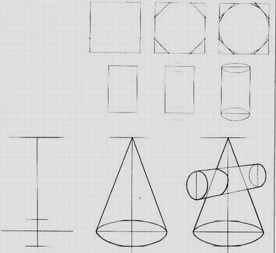 以下是圆柱体和圆锥体的画法