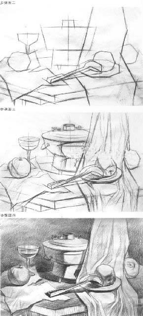明暗素描静物默画的作画步骤和表现方法