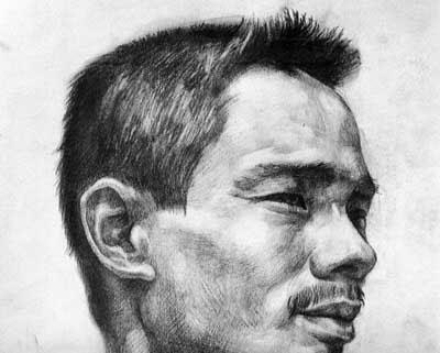 男生半侧脸手绘图