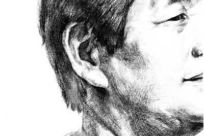 耳朵素描结构正面