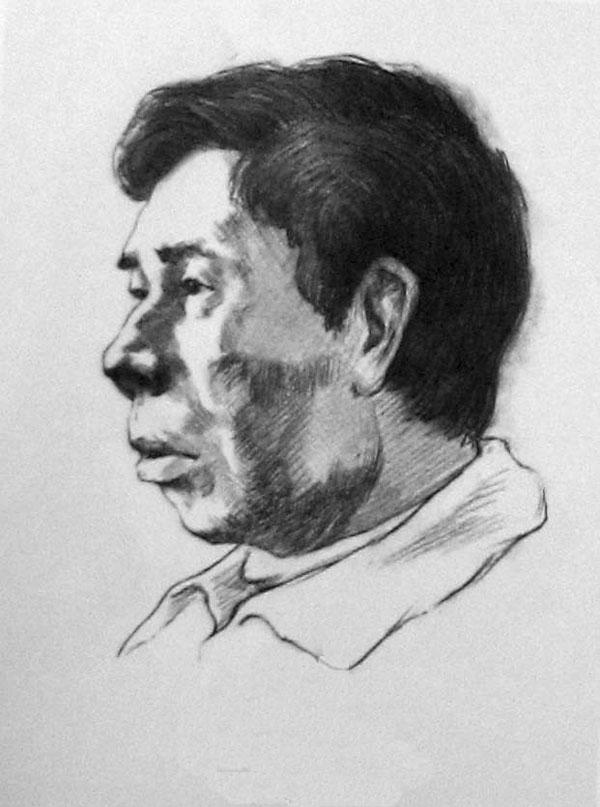 男中年头像素描写生步骤(准侧面)