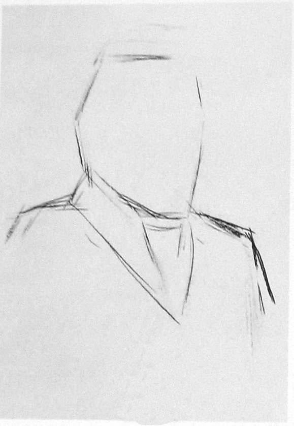 男中老年人头像素描写生步骤(四分之三侧面)