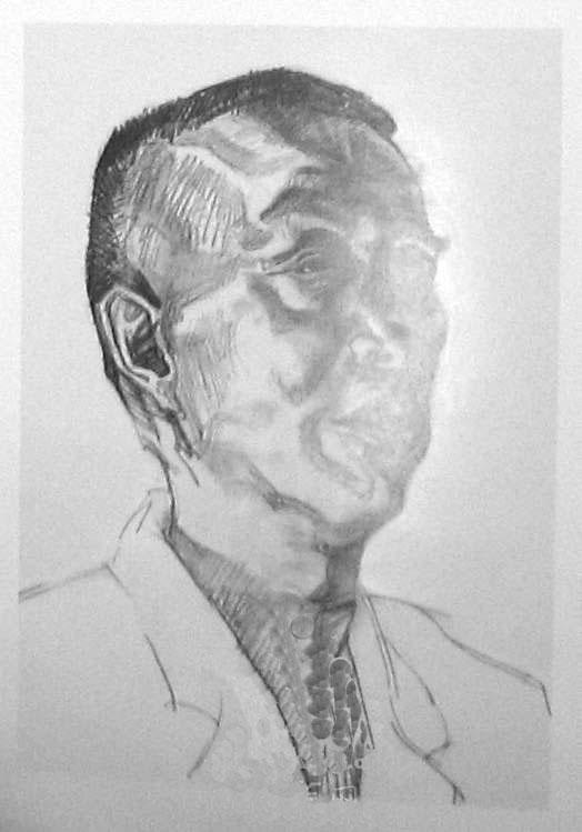 男老年人头像素描写生步骤(四分之三侧面)