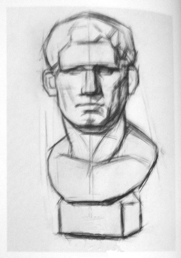 阿格里巴石膏像写生步骤(正面),素描画网