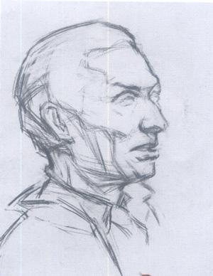 头像素描(男老年)写生的基本步骤和应试要领