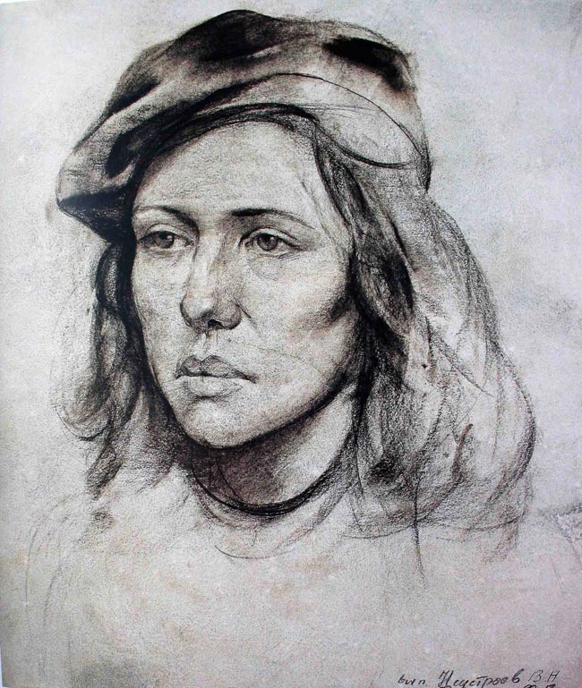 列宾美院素描展览:中年女人正面素描头像