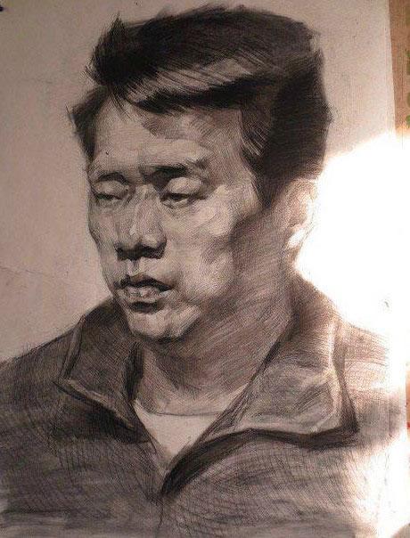 中年男人头像素描,素描画网