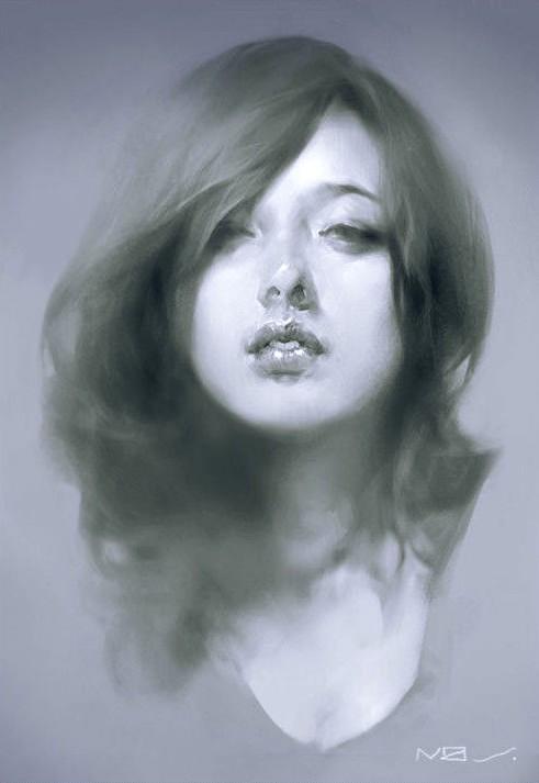虚实对比超强的优秀素描作品:长头发美少女素描