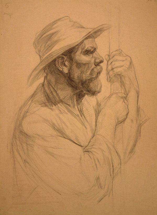 列宾美院经典素描:戴帽子老人侧面头像素描,素描画网