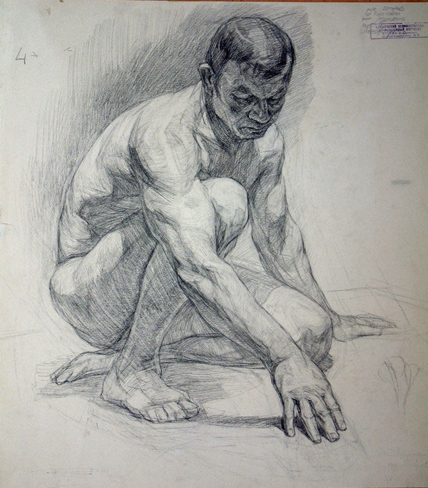 中年男人侧面人体素描