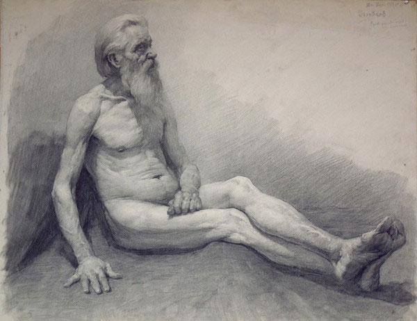 素描 老人/列宾美院经典素描:坐地上的老人侧面人体素描