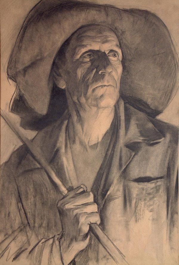 列宾美院经典素描:戴帽子老人头像素描,素描画网图片