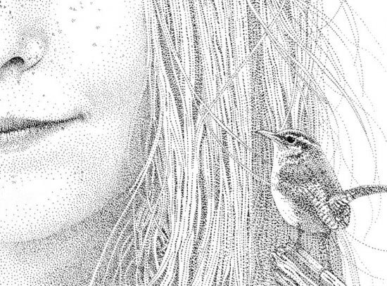黑色碳素笔女孩素描点画作品:头发细致素描图片