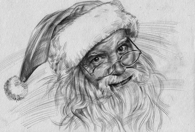 戴帽子的圣诞老人头像素描