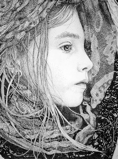 女孩侧面头像素描