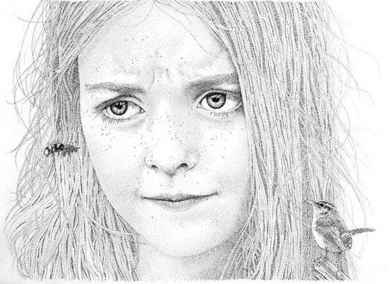 黑色碳素笔素描点画:长头发女孩头像素描图片