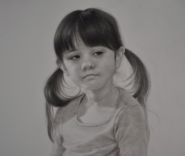 扎着两个小辫的小女孩头像素描