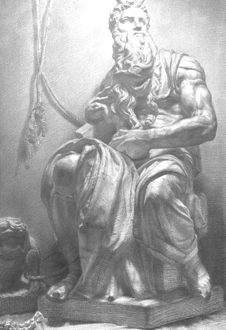 优秀素描静物作品:中年男人人体石膏像素描1