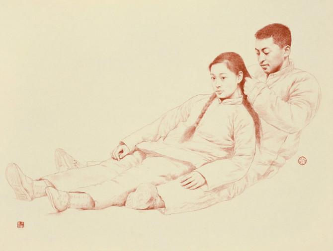 王沂东素描作品 恩爱夫妻人体素描