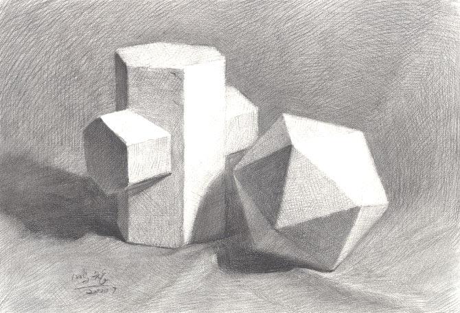 几何体静物素描作品9